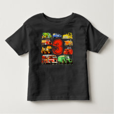 Custom Kid's Age Construction Trucks 3rd Birthday T-shirt