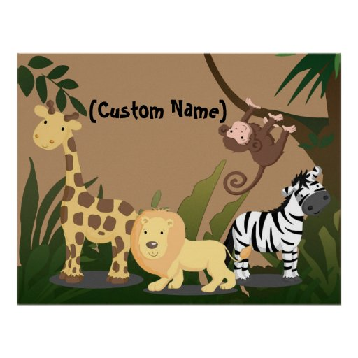 Custom kids baby name junglezoo wall art poster zazzle for Personalized last name university shirts