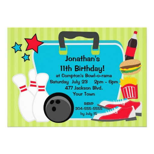 Personalized Birthday bowling party Invitations – Kids Bowling Party Invitations
