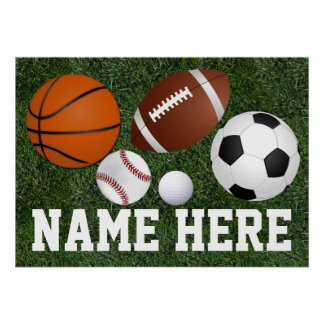 Custom Kids Boys Name Multi Sports Wall Art Poster