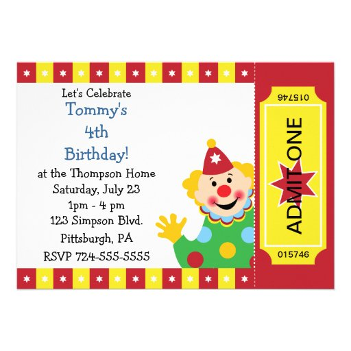 custom kids clown birthday party 5x7 paper invitation card