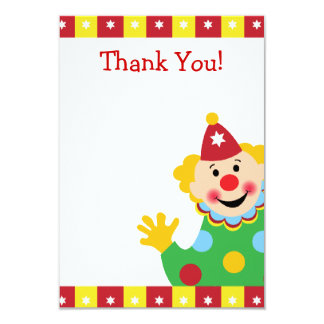 Custom Kids Clown Thank You 3.5x5 Paper Invitation Card