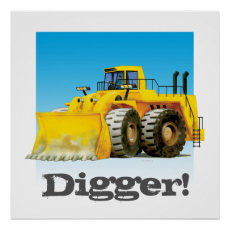 Custom Kids Construction Giant Truck Yellow Digger Poster