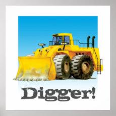 Custom Kids Construction Giant Truck Yellow Digger Poster