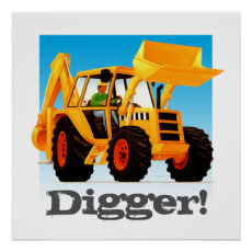 Custom Kids Construction Truck Yellow Digger Poster