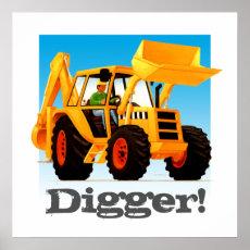 Custom Kids Construction Truck Yellow Digger Poster