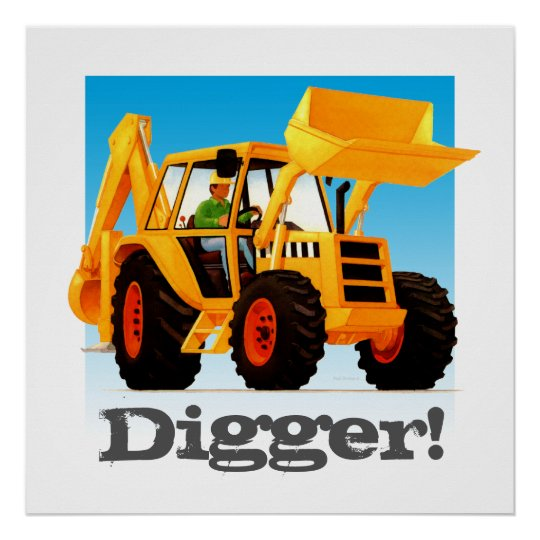 custom kids construction truck yellow digger poster zazzle com