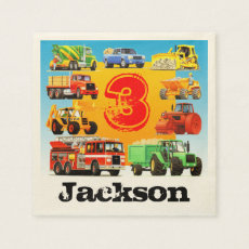 Custom Kids Construction Trucks 3rd Birthday Party Napkin
