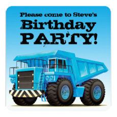 Custom Kids Dump Truck Construction Birthday Party Card