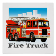 Custom Kid's Giant Red Fire Truck Art Poster