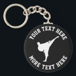 """Custom kids karate martial arts Birthday party Keychain<br><div class=""""desc"""">Custom kids karate martial arts Birthday party favor keychains with black belt logo. Personalized accessories for boy or girl Birthday party celebration. Add your own name, funny quote or saying, slogan etc. Cool sporty key chain template design for children, teacher, ninja coach etc. Black or custom color background. Also great...</div>"""