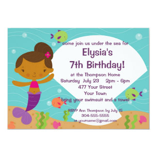 Custom Kids Mermaid Birthday Party 5x7 Paper Invitation Card