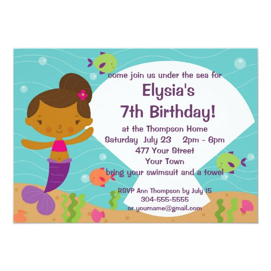Custom Kids Mermaid Birthday Party Invitation