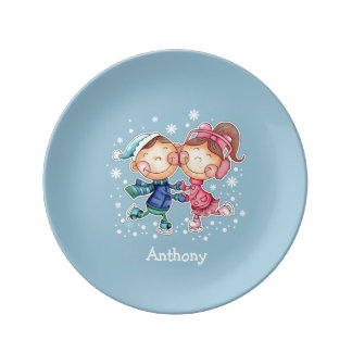 Custom Kid's Name Fun Christmas Porcelain Plates