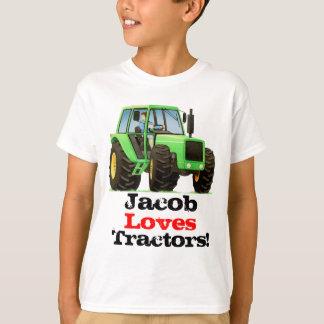 Custom Kids Name Love Tractors and Farming T-Shirt