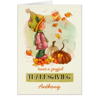 Custom Kid's Name Thanksgiving Greeting Cards