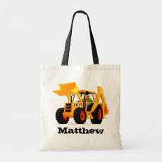 Custom Kid's Name Yellow Digger Tote Bag