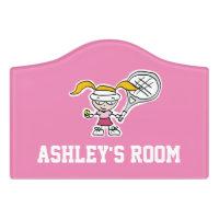 Custom kid's room door sign for girl tennis player