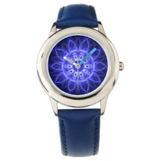 Custom Kid's Stainless Steel Blue Leather Strap Wrist Watches