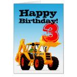 Custom Kid's Yellow Digger 3rd Birthday Card