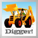 Custom Kids Yellow Digger Poster