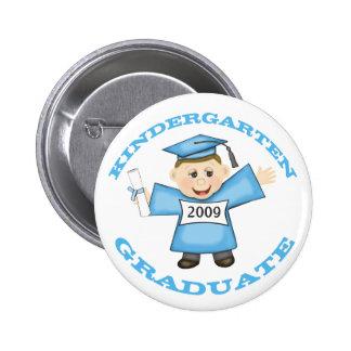 Custom Kindergarten Blue Girl Graduate Button