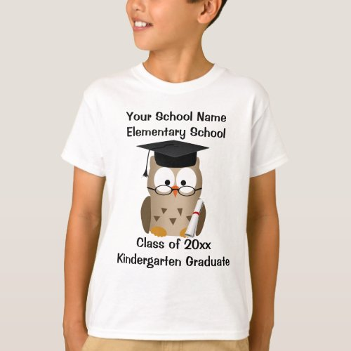 Custom Kindergarten Graduation T_Shirt Wise Owl T_Shirt
