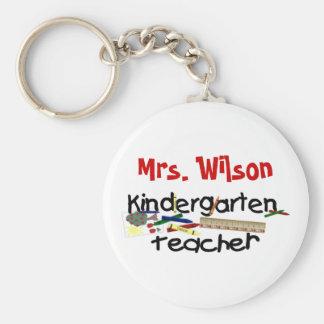 Custom Kindergarten Teacher Basic Round Button Keychain