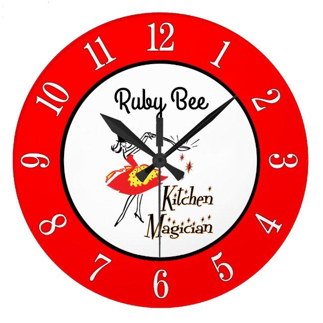 Custom Kitchen Magician 1950s Retro Numbers Clock