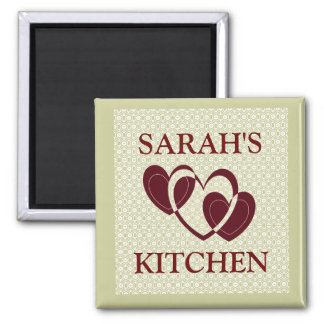 CUSTOM KITCHEN MAGNET..ADD YOUR NAME 2 INCH SQUARE MAGNET