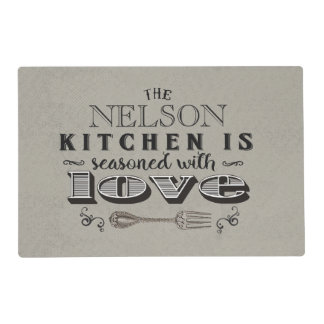 Custom kitchen seasoned with love typography placemat