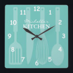"""Custom kitchen wall clock with cooking utensils<br><div class=""""desc"""">Personalized kitchen wall clock with cooking utensils Teal / Turquoise blue and white or custom background color. Cute decoration gift idea for chef cook mom,  dad,  mother,  aunt,  sister,  daughter,  wife,  friend etc. Spoon knife spatula and whisk with number dial and custom name. Square or round version.</div>"""