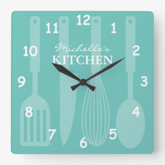 Custom kitchen wall clock with cooking utensils