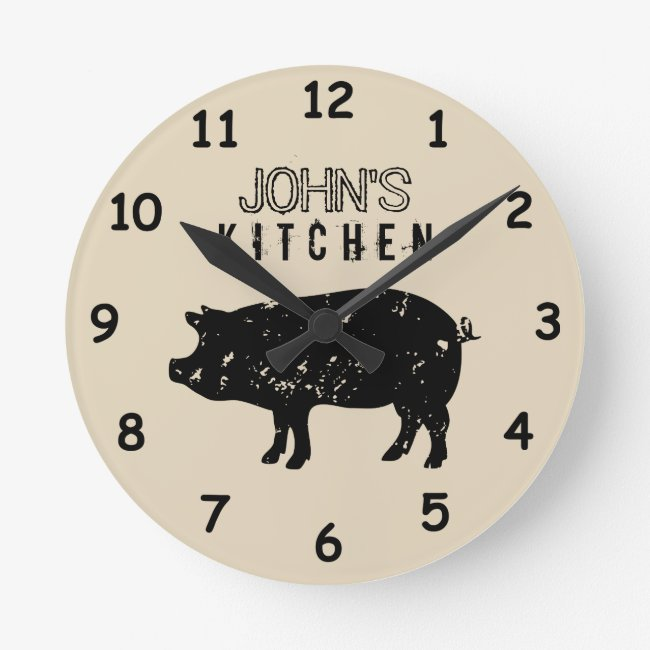 Custom kitchen wall clock with vintage pig logo