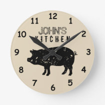 Custom kitchen wall clock with vintage pig logo