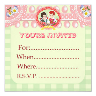 """Custom Kitsch Green Gingham Kid's Party Blank - 5.25"""" Square Invitation Card"""