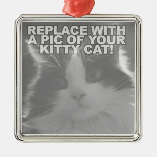 Custom Kitty Cat Square Metal Christmas Ornament