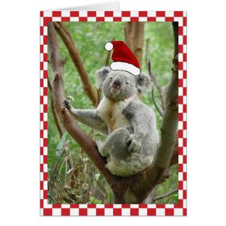 Custom Koala in Santa Cap Photo Red Check Card