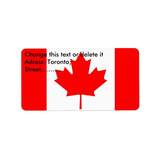 Custom Label with Flag of Canada