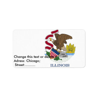 Custom Label with Flag of Illinois, U.S.A.