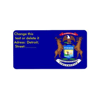 Custom Label with Flag of Michigan Address Label