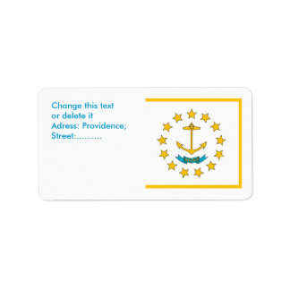 Custom Label with Flag of Rhode Island, U.S.A.