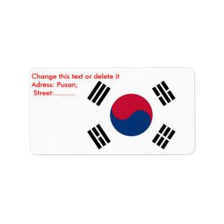 Custom Label with Flag of South Korea
