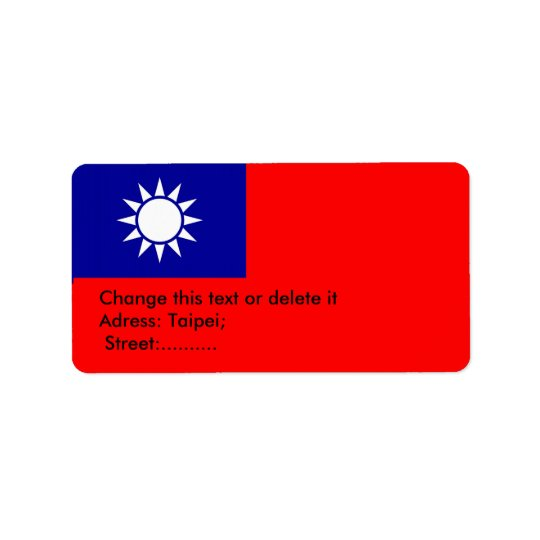 Custom Label with Flag of Taiwan