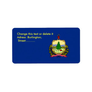 Custom Label with Flag of Vermont, U.S.A.