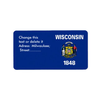 Custom Label with Flag of Wisconsin, U.S.A.