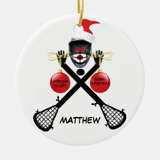 Custom Lacrosse Christmas Double-sided Ceramic Round Christmas Ornament