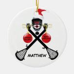 Custom Lacrosse Christmas Double-Sided Ceramic Round Christmas Ornament