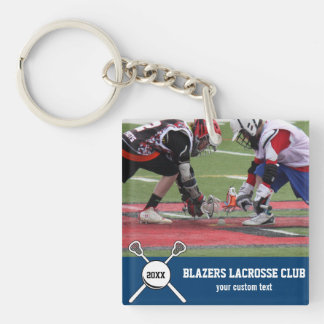 Custom Lacrosse Photo Collage Team Player Name Keychain