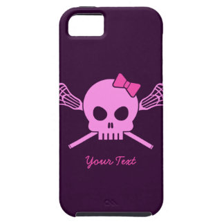 Custom Lacrosse Pink Skull and Bones iPhone Case iPhone 5 Cases